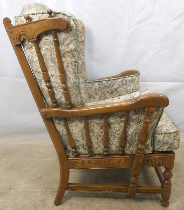 Carved Elm Upholstered Wing Armchair Old Colonial Range By